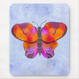 Sunset Colored Butterfly Painting Mouse Pad