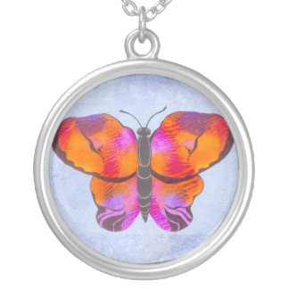 Sunset Colored Butterfly Painting Round Pendant Necklace