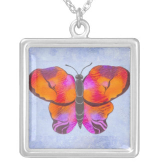 Sunset Colored Butterfly Painting Square Pendant Necklace