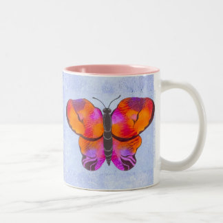 Sunset Colored Butterfly Painting Two-Tone Coffee Mug
