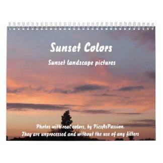 Sunset Colors Calendar, landscape photos Calendar