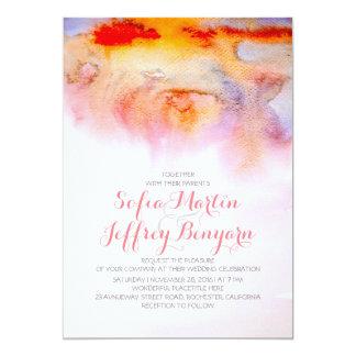 Sunset colors watercolor wedding invitation
