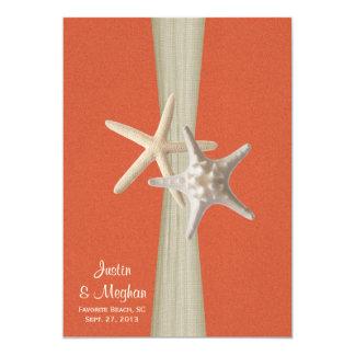 Sunset Coral and Starfish Beach Wedding 5x7 Paper Invitation Card