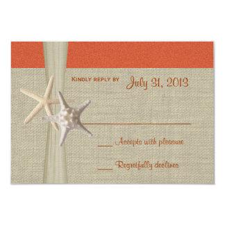 Sunset Coral Starfish Response Card Custom Invite