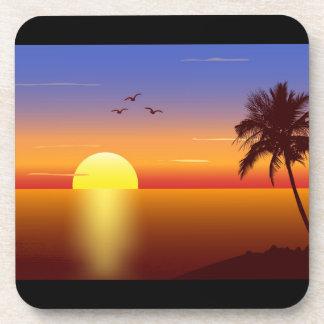 Sunset cork coasters