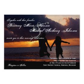 Sunset Couple Silhouette Beach Wedding Invitation 4.5
