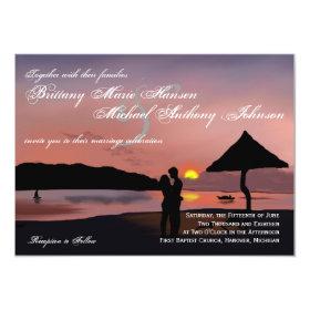 Sunset Couple Silhouette Lake Wedding Invitation 4.5