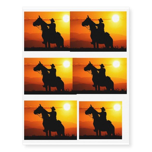 Sunset Cowboy Cowboy Sunshine Western Country Temporary Tattoos Zazzle Com