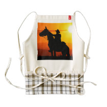 Sunset cowboy-Cowboy-sunshine-western-country Zazzle HEART Apron