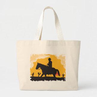 Sunset Cowboy Large Tote Bag