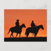 Sunset Cowboy Ride Design Postcard