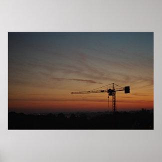 Sunset Crane Poster