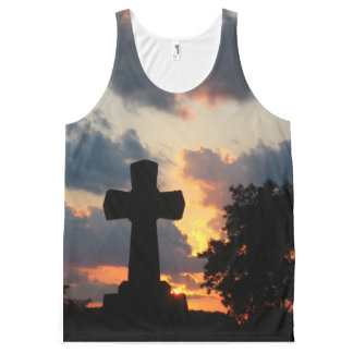 Sunset Cross Uni-sex Tee All-Over Print Tank Top