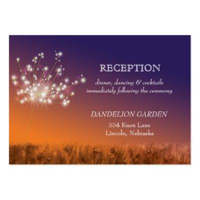 Sunset Dandelion Wedding Reception Large Business Card