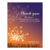 Sunset Dandelions Floral Wedding Thank You Flat Personalized Invitations
