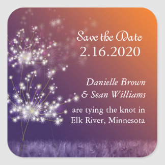 Sunset Dandelions Wedding Save the Date Square Sticker
