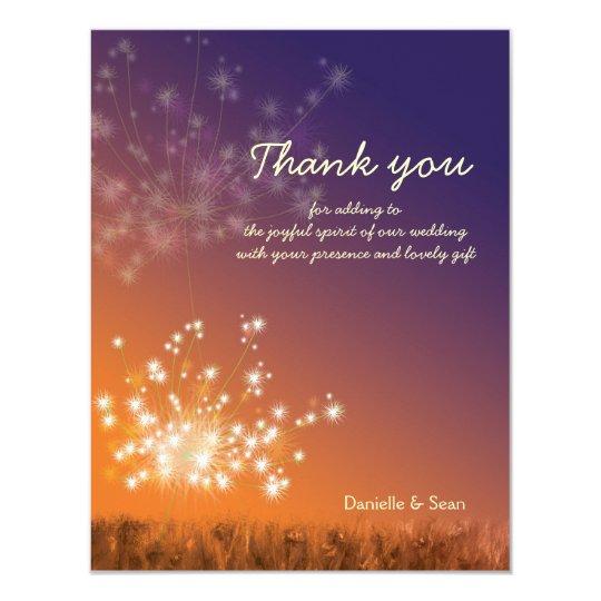 Sunset Dandelions Wedding Thank You Card