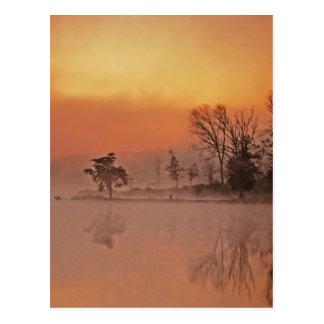 SUNSET DEAM LAKE INDIANA FOGGY POSTCARD