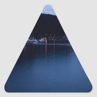 Sunset Deep Cove At Dusk Triangle Sticker