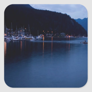 Sunset Deep Cove At Dusk Square Stickers