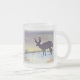 Sunset Deer Design Frosted Glass Coffee Mug