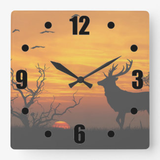 Sunset Deer Silhouette Square Wall Clock