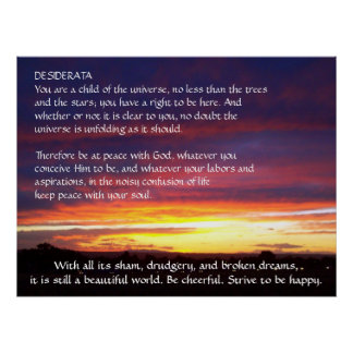 Sunset DESIDERATA Posters