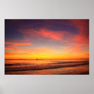 Sunset Dog s Beach Poster