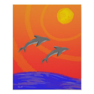 Sunset Dolphins: Print