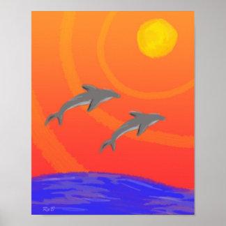 Sunset Dolphins Print