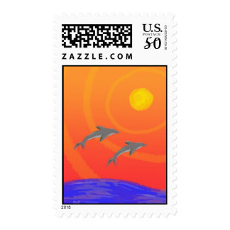 Sunset Dolphins: Stamp