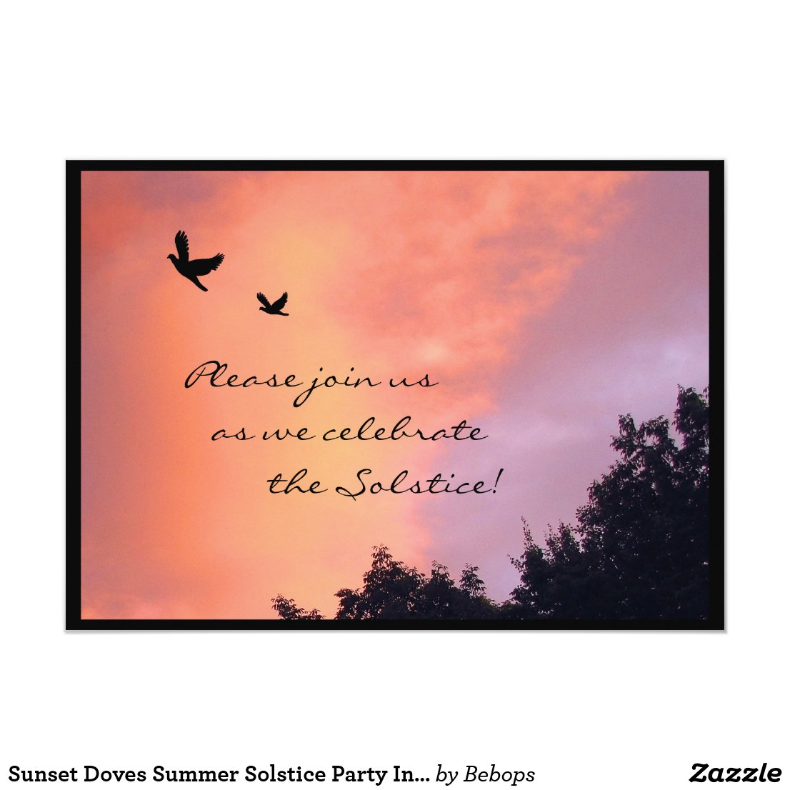 Sunset Doves Summer Solstice Party Invitation