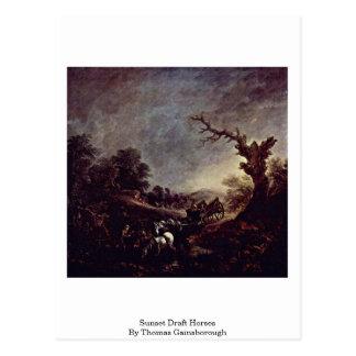 Sunset Draft Horses By Thomas Gainsborough Postcard