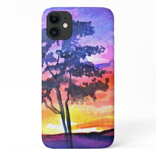 Sunset Dreaming landscape watercolor art iPhone 11 Case