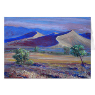 Sunset Dunes, Distant Mountains and Trees Card