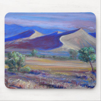 Sunset Dunes, Distant Mountains and Trees Mousepad