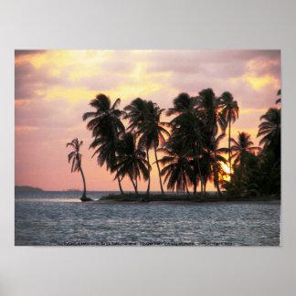 Sunset, E Lemmons, Kuna Yala, Panama Poster