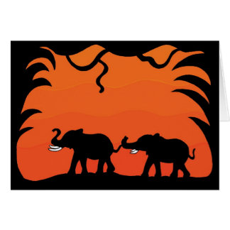 Sunset Elephants Card