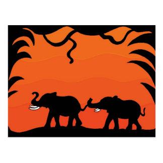 Sunset Elephants Postcard