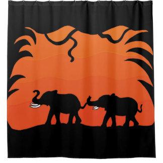 Sunset Elephants Shower Curtain