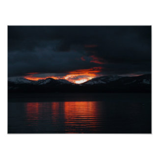 Sunset Embers Lake Tahoe Poster