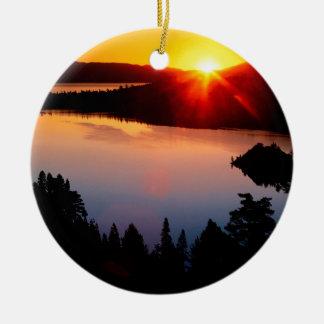 Sunset Emerald Bay Lake Tahoe Ceramic Ornament