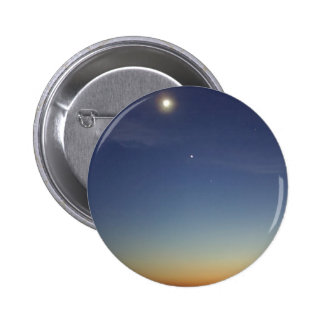 Sunset Evening Moon Stars 2 Inch Round Button
