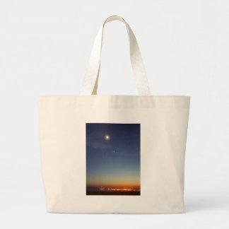 Sunset Evening Moon Stars Jumbo Tote Bag