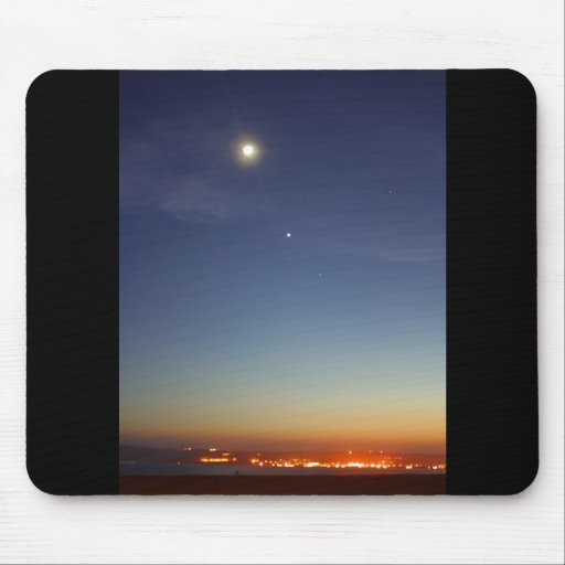 Sunset Evening Moon Stars Mouse Pad