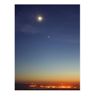 Sunset Evening Moon Stars Postcard