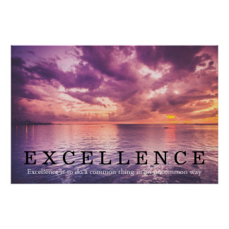 Sunset Excellence Quote Inspirational Poster