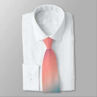 Sunset Fade Pastel Ombre Pink Teal Neck Tie