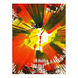 Sunset Fall Colors Spin Art Post Card