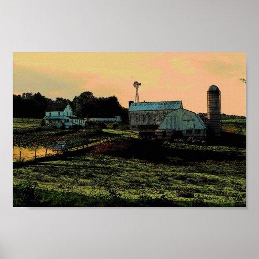 Sunset Farm Poster